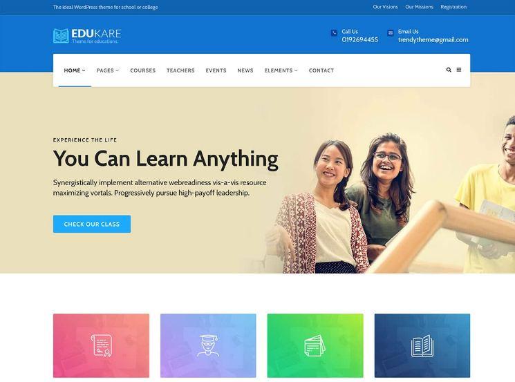 Thiết kế website giáo dục - trường học với màu sắc hài hòa